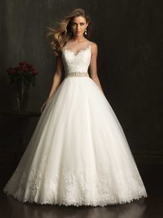 Sleeveless English Net Ballgown with Crystal Encrusted Bodice & Illusion Neckline