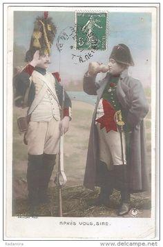 """Carte Postale Ancienne """"APRÈS VOUS, SIRE"""" Photographe ARJALEW France 1908."""