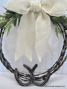 Simply Country Life: Barb Wire and Horseshoe Wreath Country Western Rustic Cowgirl Barn Wedding Decor