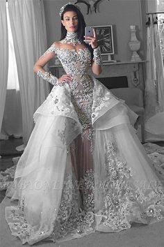 Glamorous Long Sleeves Tulle High Neck Bride Dresses Appliques Wedding Dresses with Detachable Overskirt Glamorous Long Sleeves Tulle High Neck 2018 Wedding Dresses Appliques Bridal Gowns With Detachable Overskirt Arabic Wedding Dresses, Affordable Wedding Dresses, Long Wedding Dresses, Bridal Dresses, Wedding Gowns, Arab Wedding, Bridesmaid Dresses, Prom Dresses, Evening Dresses