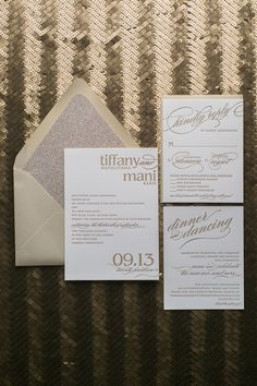 Fabulous Champagne and Gold Modern Letterpress Wedding Invitations. CYNTHIA Glitter Collection by Just Invite Me