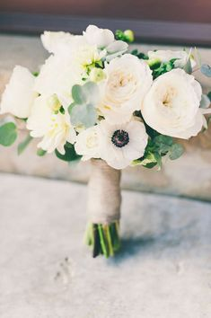 Hand Tied Wedding Bouquet Featuring: White English Garden Roses, White Spray Roses, White Chrysanthemums, White Anemones, Green Hypericum & Baby Blue Eucalyptus^^^^