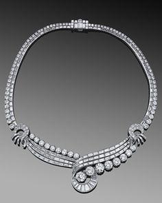 Round and Baguette Diamond Swirl Necklace, circa Fred Leighton Bijoux Art Deco, Art Deco Jewelry, Fine Jewelry, Antique Jewelry, Vintage Jewelry, Jewelry Design Drawing, Schmuck Design, Diamond Jewelry, Diamond Necklaces