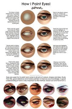 Eye Painting Tutorial 66 Ideas For 2019 Digital Painting Tutorials, Digital Art Tutorial, Art Tutorials, Digital Paintings, Drawing Tutorials, Eye Painting, Painting Tips, Drawing Techniques, Drawing Tips