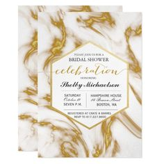 Modern Marble Geometric Bridal Shower Invitation Custom Office Party Invitations #office #partyplanning