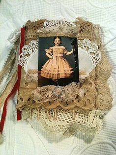 Mixed-Media-Fabric-Collage-Book-OOAK-Scrapbook-Album-with-Lace-Crochet-Vintage