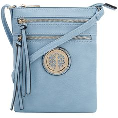 Women's Epic Chic MKII Evie Medallion Crossbody Bag Light Blue (€11) ❤ liked on Polyvore featuring bags, handbags, shoulder bags, light blue handbags, colorful handbags, light blue crossbody purse, light blue purse and blue handbags