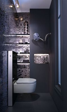 Bathroom with geberit aquaclean sela shower toilet and actuator plate geberit Bad Inspiration, Bathroom Inspiration, Geberit Monolith, Dark Blue Bathrooms, Blue Powder Rooms, Indirect Lighting, Blue Tiles, Blue Mosaic, Of Wallpaper