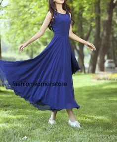 Blue chiffon dress maxi dress long dress plus by fashionwomanstore, $49.99