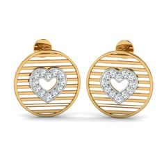 Ring of Hearts Studs 18 karat gold earrings If you love small pretty studs, you'll adore these! The CZ heart in the center is the definite highlight of these studs.