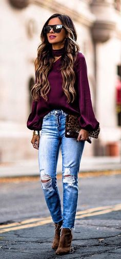 #winter #outfits purple long sleeve blouse