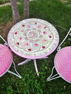Mosaic English Rose Pedestal Table by antique2chic on Etsy, $200.00