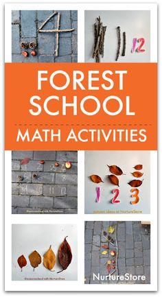 Forest school math activities for autumn - outdoor math lessons Numeracy Activities, Math Activities For Kids, Nature Activities, Math For Kids, Preschool Activities, Kindergarten Science, Math Games, Outdoor Education, Outdoor Learning