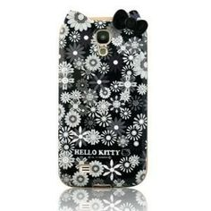 Black Cute Cartoon Cat TPU White Flowers & Black Bow Case Cover for Samsung Galaxy S4 SIV i9500