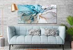 Teal Blue Marbling Wall Decor, Contemporary Art, Ink Paining, EBRU House Decor, Alcohol Ink Large Wall Art, Turquoise Oriental Giclee Print Red Wall Decor, Canvas Wall Decor, Modern Wall Decor, Large Canvas Art, Large Wall Art, Abstract Canvas, Blue Abstract, Painting Prints, Canvas Prints