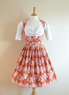 Terrakotta-Blumendruck Milchmädchen dress von Dig For Victory auf DaWanda.com