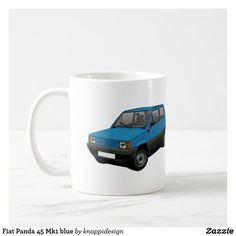 Fiat Panda 45 Mk1 blue. two images per coffee mug. Change background color and check out other color options too.  #fiat #fiatautomobile #automobile #panda #fiatpanda #panda45 #fiatpanda45 #italiancars #cars #carillustration #cafe #caffe #kaffemuggar #coffeemug #mukit #auto #machine #automobiles #classiccars #bluecar