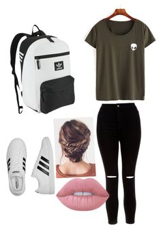 """How to wear outfits for school"" by rmarvelly on Polyvore featuring New Look, adidas, adidas Originals and Lime Crime"