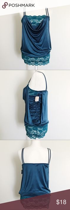 """Teal Scoop Neck Lace Camisole Very forgiving in the abdomen area due to the draping!  Measurements: Approx. 38"""" armpit to armpit (when stretched) Approx. 28"""" from shoulder to bottom of the top  Please don't hesitate to ask any questions before purchasing - I want you to be happy with your purchase!  Forever 21 Tops Camisoles"""