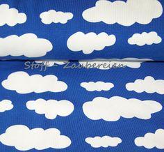 Stoff-Zaubereien: Baumwoll Jersey große Wolken Stoff Dekostoff Kinderstoff J.Swafing Vicente blau weiß