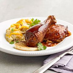 This Saucy BBQ Chicken gets its sweet-and-spicy flavor from a homemade barbecue sauce! More quick & easy chicken recipes: http://www.bhg.com/recipes/chicken/30-minutes-less/quick-easy-chicken-dinner-recipes/?socsrc=bhgpin071613bbqchicken=14