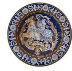 """DECORATIVE PLATE: KNIGHT - MACCABEO BLU: 14"""" (36cm) Diameter.    This Plate is Drilled for Hanging.    This Piece is hand painted in Deruta."""
