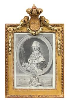 A Swedish Engraving 18th century, depicting,Gustav III, contained in a crowned and bellflower garland-decorated giltwood frame.