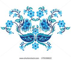 YAY Images - blue oriental ottoman design twenty-one by antsvgdal Pattern Art, Pattern Design, Images Photos, Turkish Pattern, Doll Tattoo, Mask Tattoo, China Dinnerware Sets, Turkish Art, Flowers