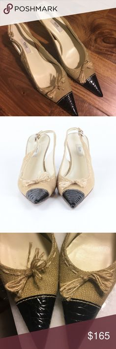 """PRADA SLINGBACKS ✨euc✨Cream colored linen """"burlap"""" material and top-stitching with sweet bow. Black, croc embossed toe caps. No scars on leather, or pulls in fabric-heels are perfect with minimal wear on sole! 3"""" heel. Prada Shoes Heels"""