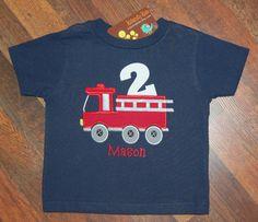 Fire Truck Birthday Shirt Firetruck Birthday Shirt by KalamityKids, $24.00
