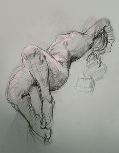 Steven Assael (b. 1957), construction sketch of reclining nude female without model. stevenassael.com