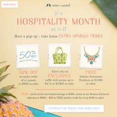 It's Hospitality Month at c+i! Host a pop-up with me in June! Contact me at j.Ciaccio@yahoo.com