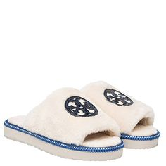 da23180f42e3 Tory Burch Shearling Logo Slide Slippers Natural Bright N…