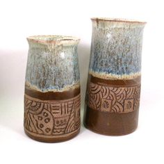 Hand Carved Pottery Vase by CrookedCreekStudio1 on Etsy, $32.00