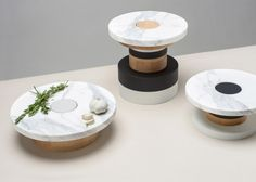 Piédestaux is a minimalist design created by Canada-based designer mpgmb. Sottsass-inspired stackable food pedestal allowing many configurat...