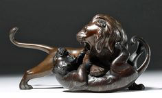 Lot: Signed Japanese Meiji Bronze Sculpture - Lion & Tiger, Lot Number: 0087, Starting Bid: $800, Auctioneer: Artemis Gallery, Auction: DAY 1   Classical Antiquities and Asian Art, Date: January 18th, 2017 CET