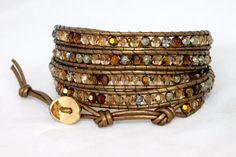 5 wrap Swarovski crystal & Pyrite leather  by myjlynndesign