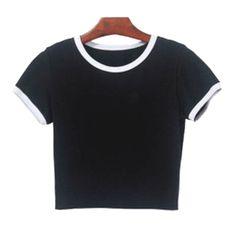6e5ac49621acf itGirl Shop SALE WHITE BLACK COLOR EDGE COTTON CROP TOP Aesthetic Apparel