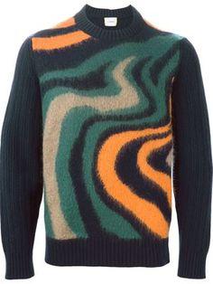 wavy intarsia sweater