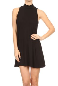 Women Mock Neck Sleeveless Tank Top Tunic Flare Swing Mini Casual Day Dress Size Type: Junior/Contemporary Size Special Style: Solid sleeveless swing dress with