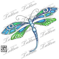 Marketplace Tattoo Emerald Deco Dragonfly #7559 | CreateMyTattoo.com