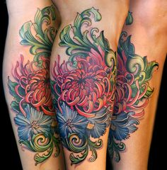 a wonderful flower tattoo! about 6 hours. Love the colors!!! by:teresa sharpe (thats me!) teresasharpeart.com