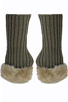 Ribbed Knit Fingerless Gloves With Fur Trim