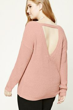 Forever 21+ - A midweight ribbed knit sweater featuring a front and back deep V-shape, back support strap, dropped shoulders, and long sleeves.