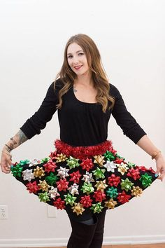 Ugly Christmas Sweater Party Bow Skirt Idea - 16 Totally Unforgettable Ugly Sweater Party Ideas #uglysweaterparty