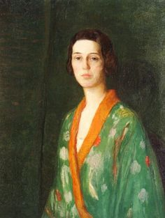 """""""Lady in a Kimono"""", ca. 1902,  by Lilla Cabot Perry (American, 1848-1943). The artist's daughter Alice served as the model for this, and many other, paintings."""