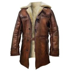 Details about Men's Tom Hardy Bane Dark Knight Rises Faux Fur Brown Real Leather Coat Jacket - Lederjacke Brown Trench Coat, Leather Trench Coat, Leather Coats For Men, Mens Shearling Jacket, Mens Fur, Brown Jacket, Bane Jacket, Jacket Men, Bomber Jacket