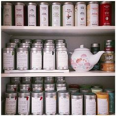 """(by you): ""Hello, my name is Jayna and I have a DAVIDsTEA problem"" This is my dream cupboard. Tea Organization, Organizing, Best Teas For Health, Davids Tea, Tea Storage, Tea Tins, My Cup Of Tea, Loose Leaf Tea, Decoration"