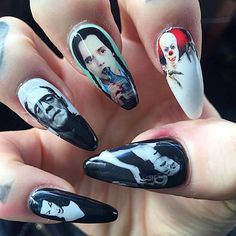 """""""Horror movie nails are life! ❤ Check out these amazing nails on @ryanashleymalarkey by @nailsbybreee ❤"""""""
