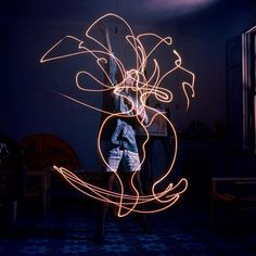 In 1949, Pablo Picasso collaborated with photographer Gjon Mili to produce a series of 'light paintings'. For five sessions in darkened rooms, a 67 year old Picasso drew hypnotic figures of centaurs, elephants, the female body and more, each image vanishing as it was being formed.